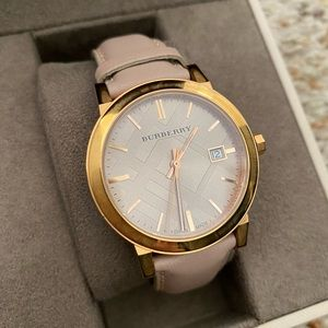 Burberry Rose Gold Nude Leather Ladies Watch